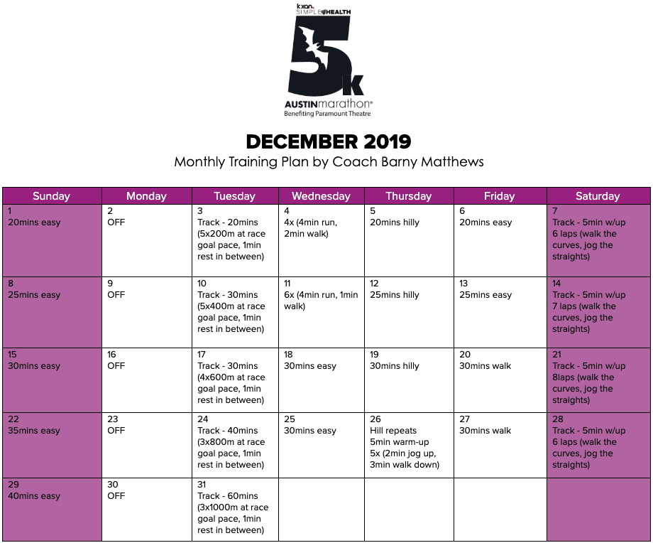 "Free 5K training plan for the month of December, designed by Paul ""Barny"" Matthews for the 2020 Austin Marathon KXAN Simple Health 5K."