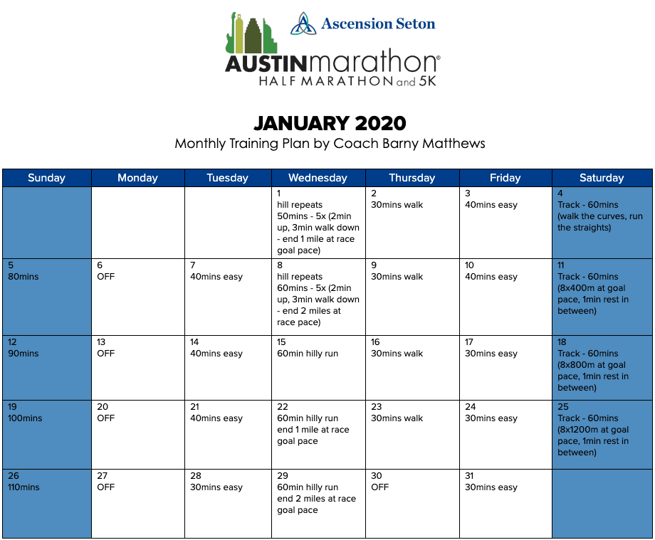 "Free half marathon training plan for the month of January, designed by Paul ""Barny"" Matthews for the 2020 Austin Half Marathon."