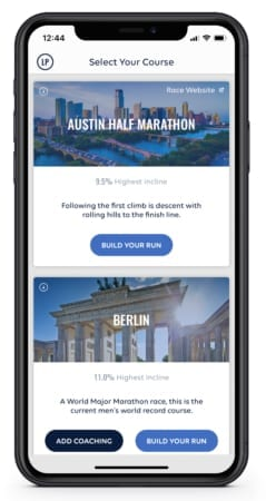 Image of the RunBetter app showing the Austin Half Marathon course. Participants can run Austin before race day with the RunBetter app.