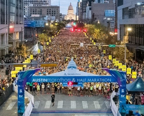 Drone image of the 2019 Austin Marathon start line taken by Patrick Wong. The Ascension Seton Austin Marathon was named a 2019 Champion of Economic Impact in Sports Tourism by Sports Destination Management.