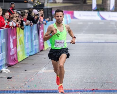 Gonzalo Parra crosses the 2019 Austin Half Marathon in second place. He is one of the runners accepted with the second round of elite runners for the 2020 Austin Half Marathon.