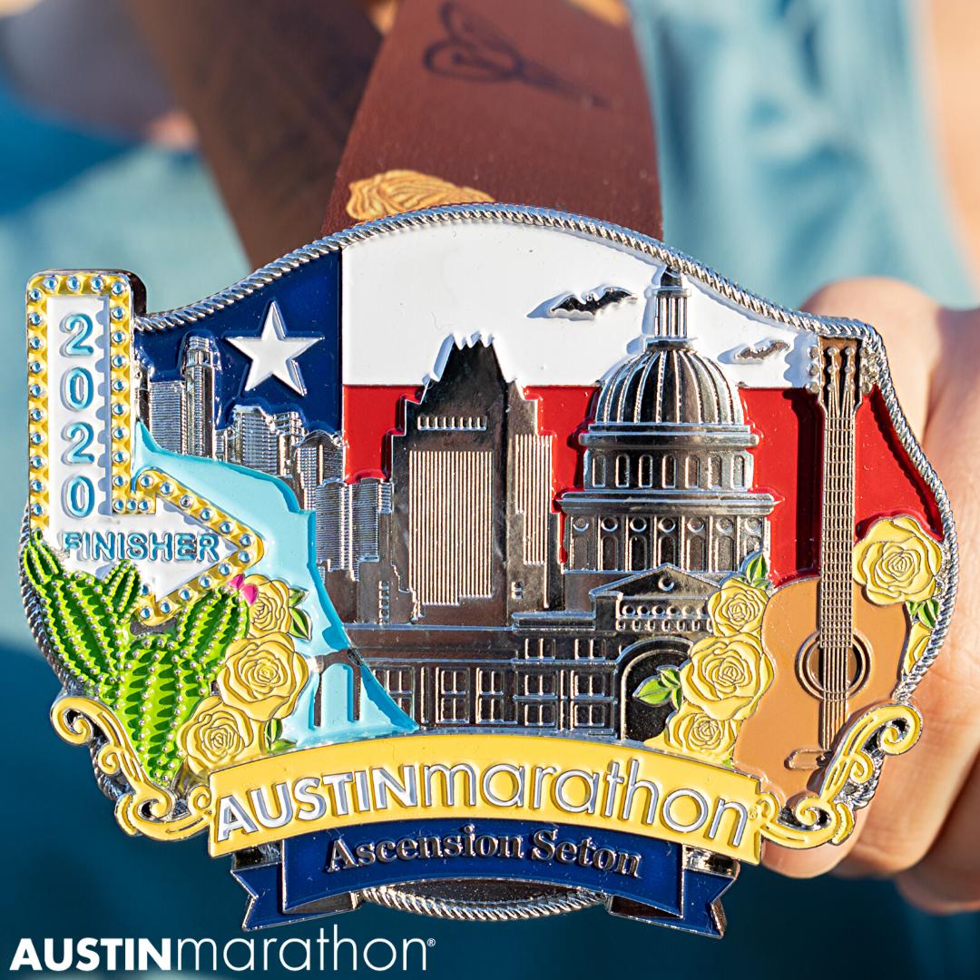 Austin Marathon Belt Buckle Finisher Medal Close up