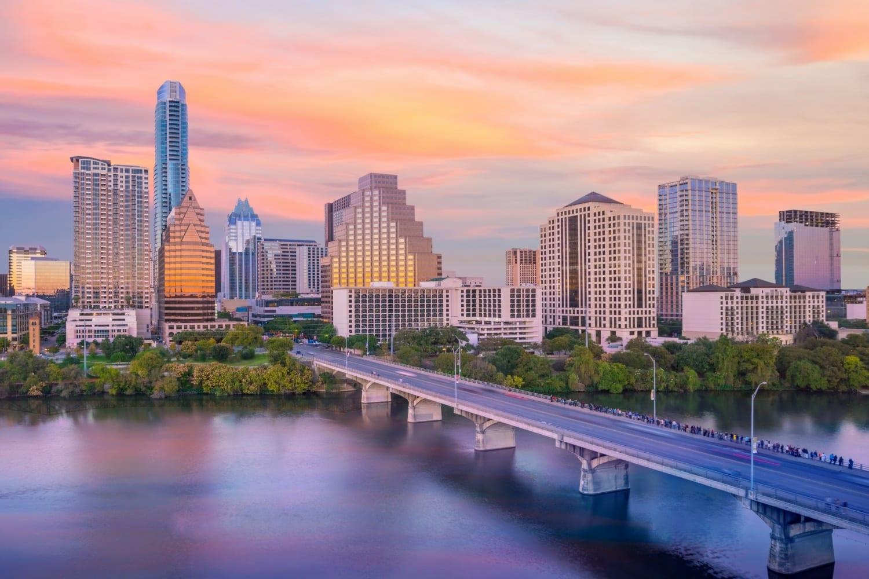 Downtown Austin Texas View over Lady Bird Lake - Hotel View for Austin Marathon