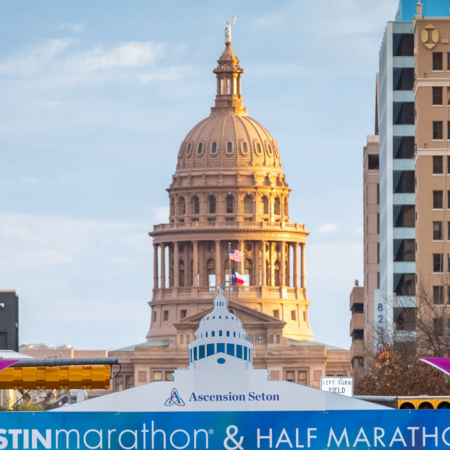Image of the 2019 Austin Marathon finish line with the Texas State Capitol in the background. The Austin Marathon finish line is just the beginning of an unforgettable Austin Marathon weekend.