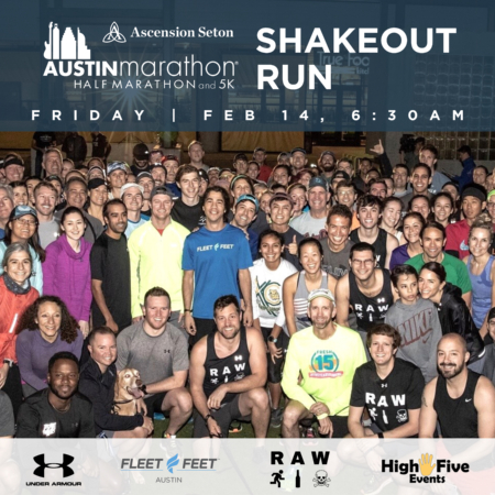 Group photo taken outside of Fleet Feet Austin from the 2019 Austin Marathon Shakeout Run. The 2020 Austin Marathon Shakeout Run will be part of an unforgettable Austin Marathon weekend.