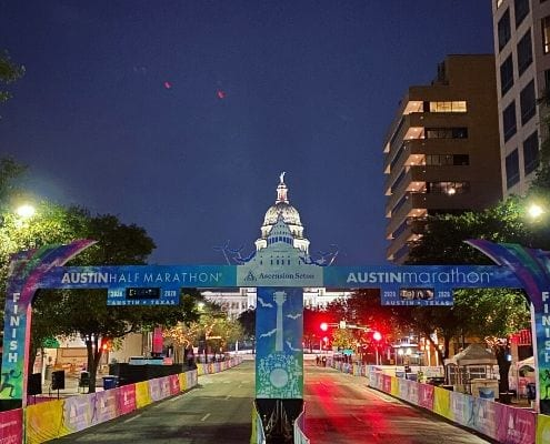 Image of the 2020 Ascension Seton Austin Marathon finish line with the Texas State Capitol in the background. Read this blog to learn how successful 2020 race weekend was!