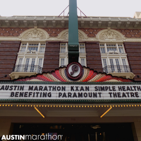 Image of the Paramount Theatre marquee displaying the name Austin Marathon KXAN SimpleHealth 5K benefitting Paramount Theatre.