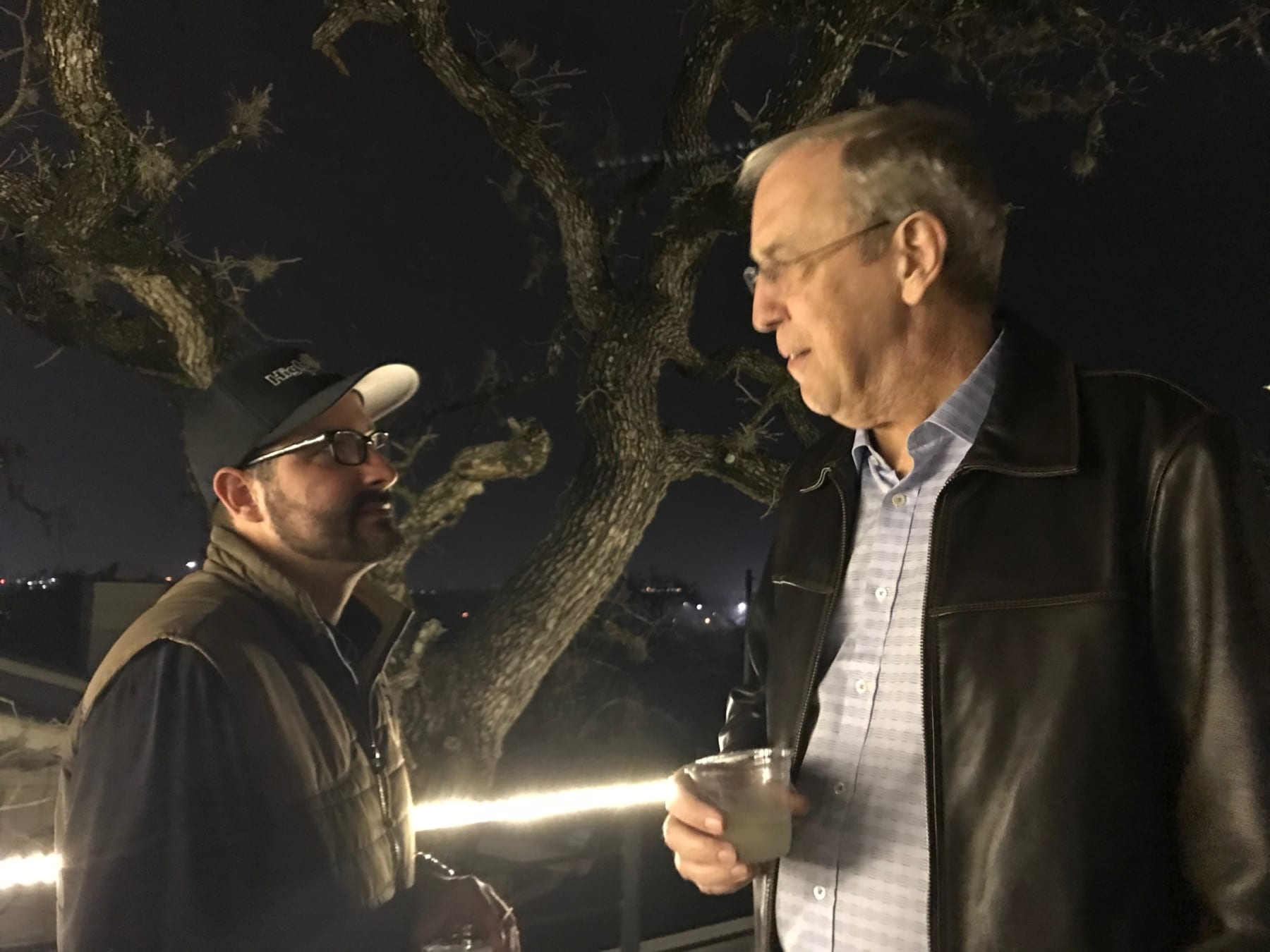 Image of Jack Murray and Joe Priesnitz chatting after the 2017 Austin Marathon.