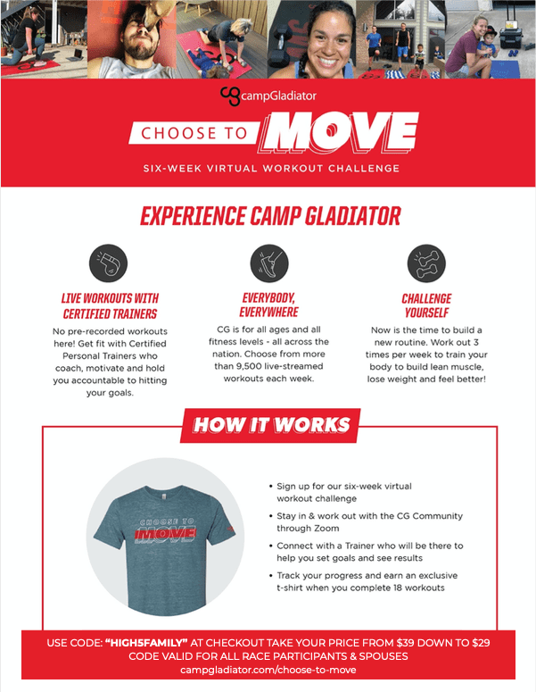 PDF breakdown of Camp Gladiator's Choose to Move virtual 6-week workout program.