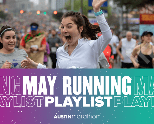 Image of a female runner at the 2020 Ascension Seton Austin Marathon waving to the camera with text reading May Running Playlist.