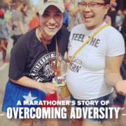 Image of Eileen Alvarez and her friend Bernabe at the 2020 Ascension Seton Austin Marathon finish line. Eileen's training plan included months of miles and overcoming adversity.