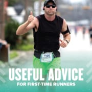 Image of male runner giving the camera a thumbs up during the 2020 Ascension Seton Austin Marathon. This is the feature image for a blog post full of useful advice for first-time runners.