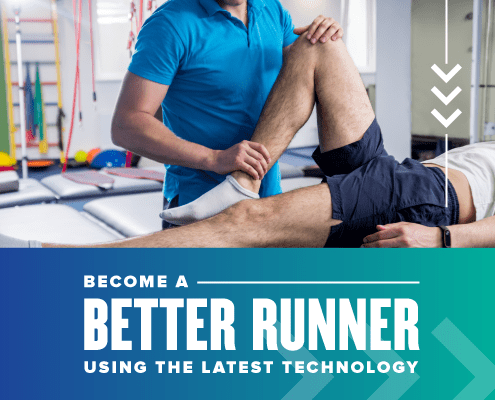 Runner laying down on a doctor's table in a clinic. The doctor is flexing his right knee during an exam. This image is associated with a blog entitled How These Experts Can Help You Get Better. Read more at https://youraustinmarathon.com/help-you-get-better/