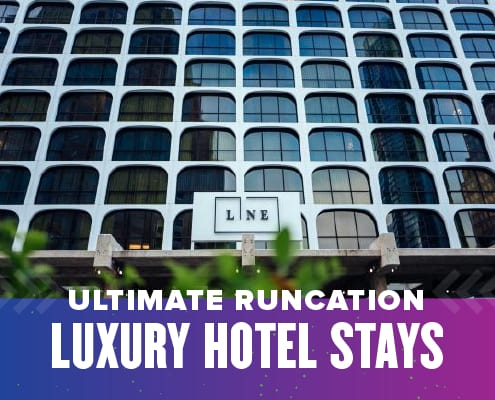 Front of The LINE Austin. Experience the ultimate runcation when you stay at one of six Austin luxury hotels. Learn more at https://youraustinmarathon.com/austin-luxury-hotels/