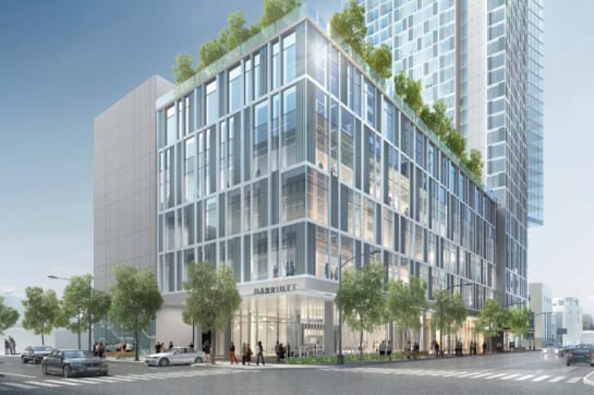 Rendering of the Austin Marriott Downtown hotel, set to open in October 2020. Book a luxury hotel and make your Austin Marathon weekend that much more memorable. More information at https://youraustinmarathon.com/austin-luxury-hotels/