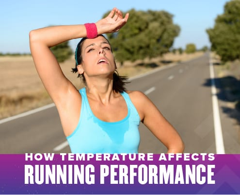 Female runner wipes sweat from her forehead with a wristband during a run. Text on design reads How Temperature Affects Running Performance. Learn more at https://youraustinmarathon.com/temperature-affects-running-performance/
