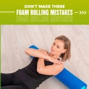 Female rolls her back on a blue foam roller. Text on design reads Don't Make These Foam Rolling Mistakes. Learn more at https://youraustinmarathon.com/foam-rolling-mistakes/