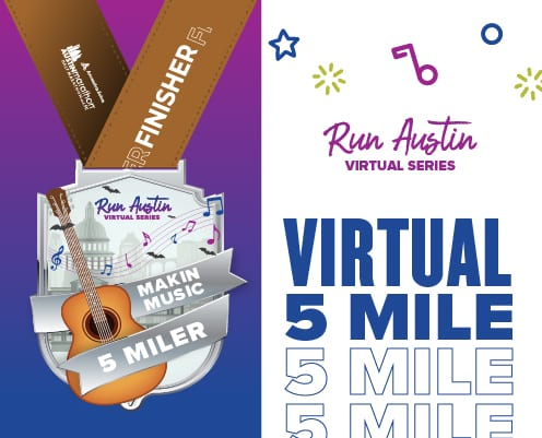 Design of the Makin' Music 5-Miler digital medal. Read more and learn about registering at https://youraustinmarathon.com/makin-music-5-miler/