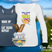 Image showcases the Taco 10K digital finisher medal, singlet, and long-sleeved shirt. Learn more at https://youraustinmarathon.com/taco-10k/