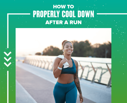 Female runner walks slowly after a run with a towel over her shoulder. Text on design reads How to Properly Cool Down After a Run. Learn more at https://youraustinmarathon.com/how-to-properly-cool-down/