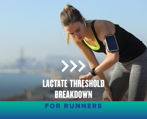 Female runner looks at her watch after a tough workout. Text on design reads Lactate Threshold Breakdown for Runners. Learn more at https://youraustinmarathon.com/lactate-threshold-breakdown/