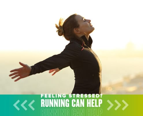 Woman opens her arms and faces the sunshine during a run. Text on design reads Feeling Stressed? Running Can Help Reduce Your Stress. Learn more at https://youraustinmarathon.com/reduce-your-stress/