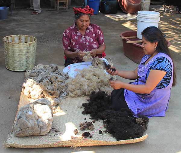 Juana Gutiérrez and her mother cleaning wool