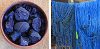 dried indigo and indigo-dyed yarn