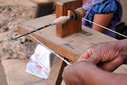 close-up of spinning yarn