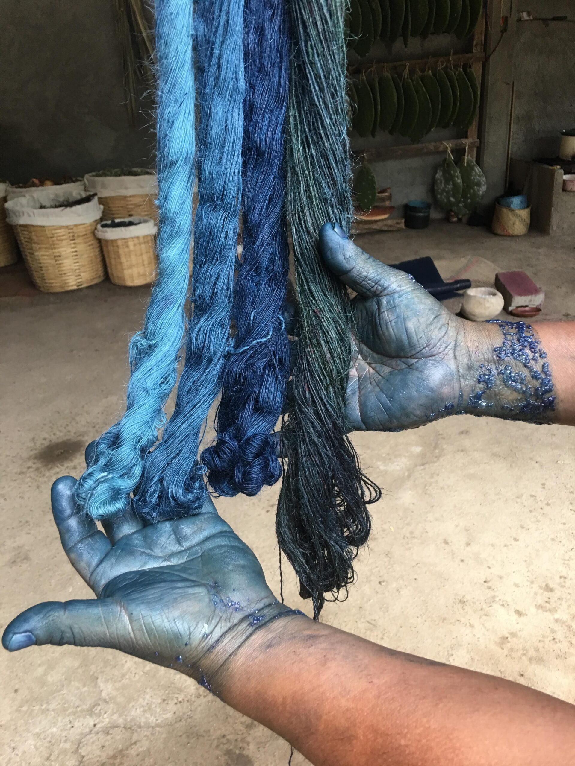 indigo-dyed yarns in the studio of Porfirio Gutiérrez y Familia