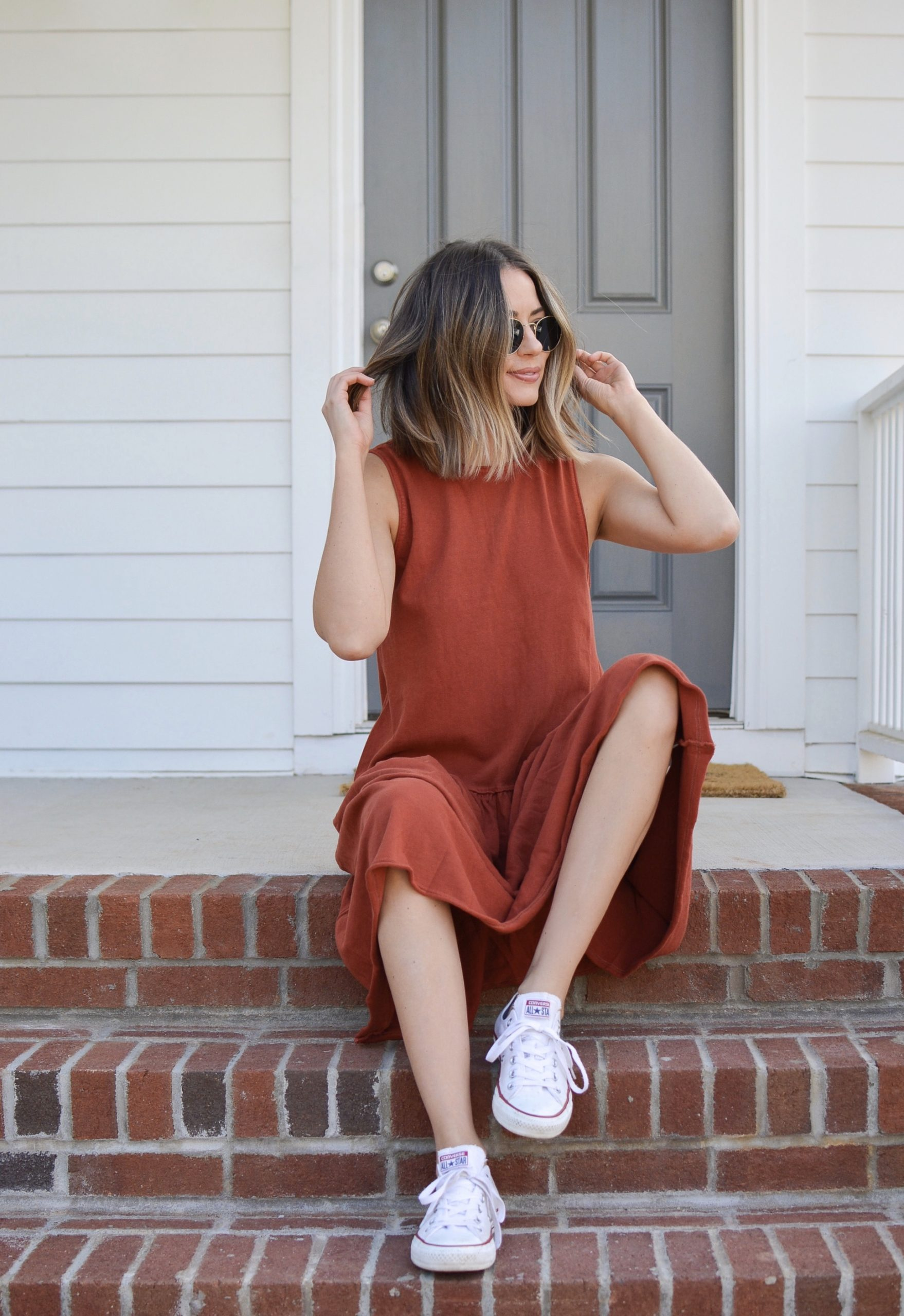 red free people maxi dress