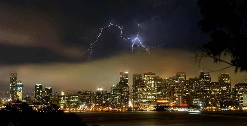 Lightnong over san Francisco