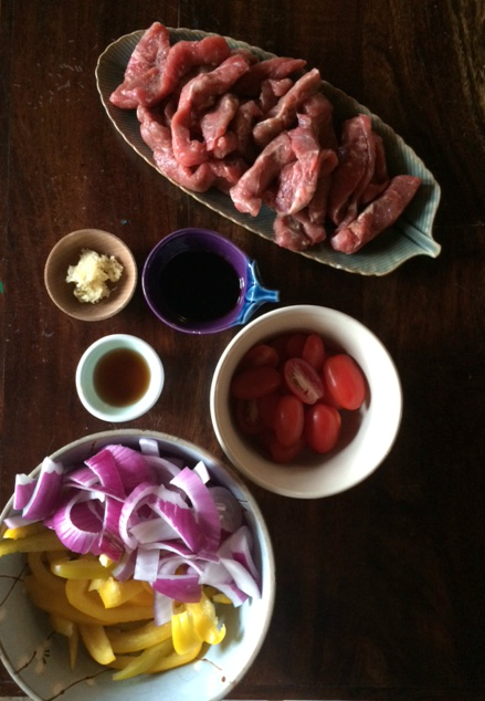 steak and veggies prep