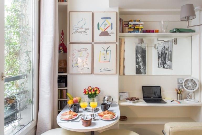 Adorable kitchen with unique art pieces