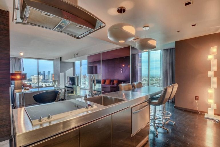 A state of the art kitchen with huge windows that overlook Las Vegas