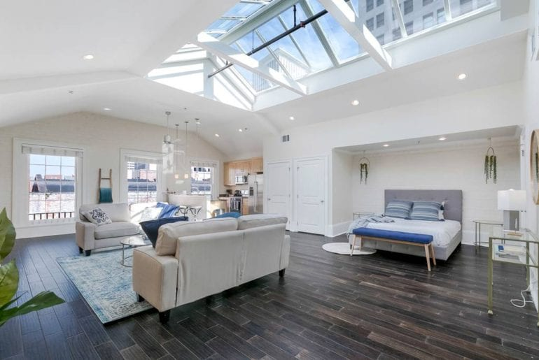 The studio has a modern feel with enormous skylights to give it an unparalleled brightness and warmth