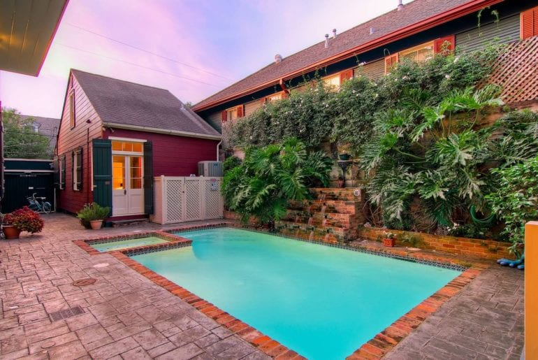 The private cottage comes with a shared courtyard and pool.