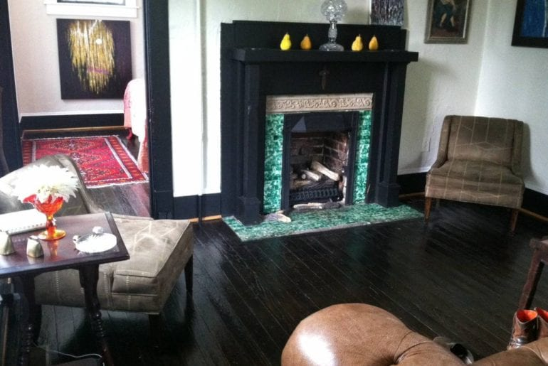 Teal lined fireplace