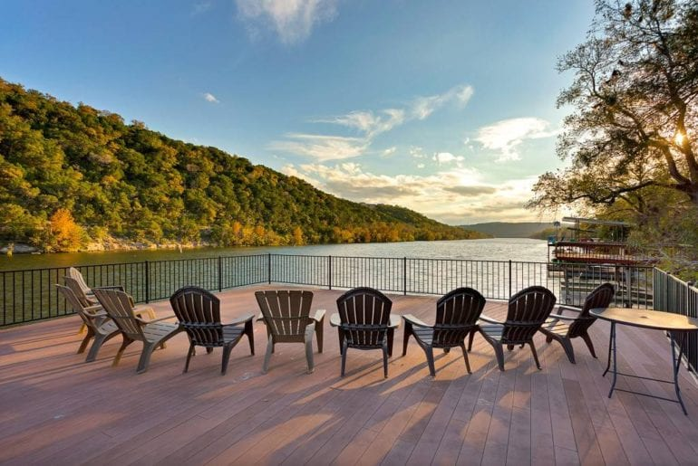 The rooftop deck has seating for the whole group overlooking the gorgeous Lake Travis.