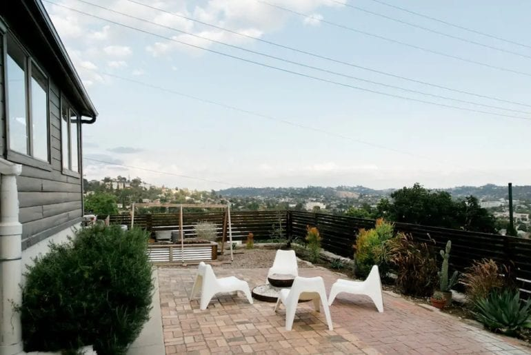 Where to stay in Los Angeles: a private outdoor seating with amazing views