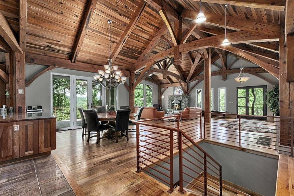 Asheville rental home featuring high vaulted ceilings and extensive timber work