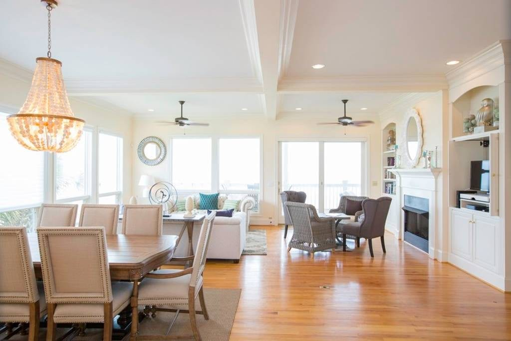 Warm and bright open floor plan to one of the best Folly Beach vacation rentals on the market