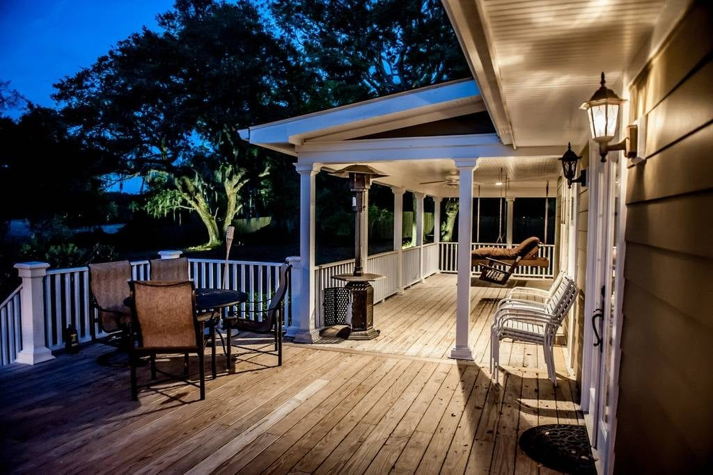 Back porch of this Mount Pleasant home overlooks the creek