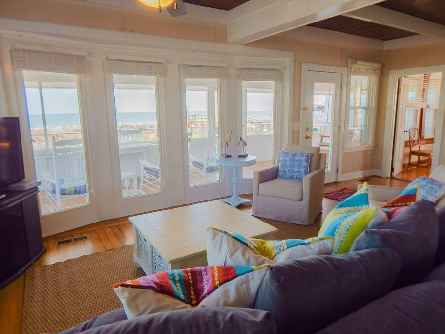 Colorful living looks out to ocean views