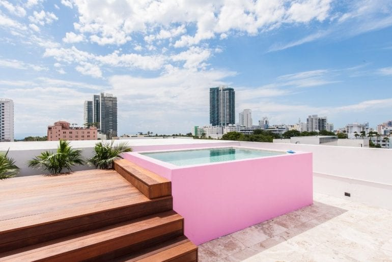 a pink pool in Miami on VRBO