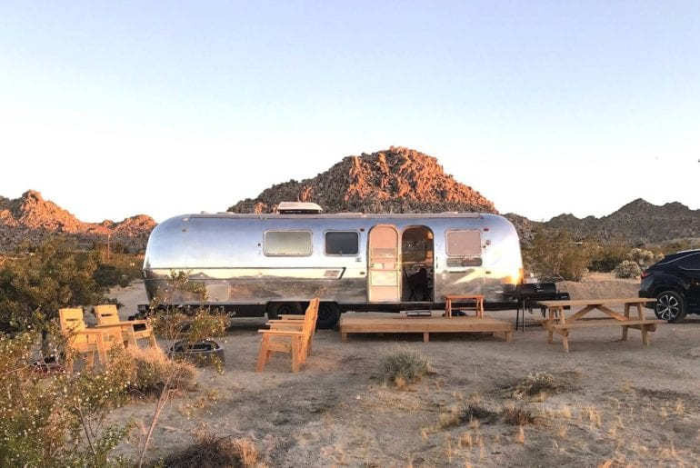 remodelled retro airbnb trailer in joshua tree