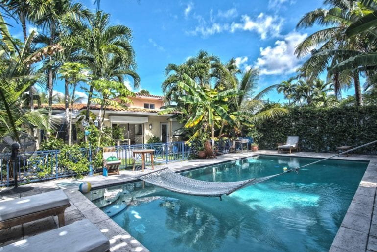 tropical airbnb beach house in miami with lush back yard