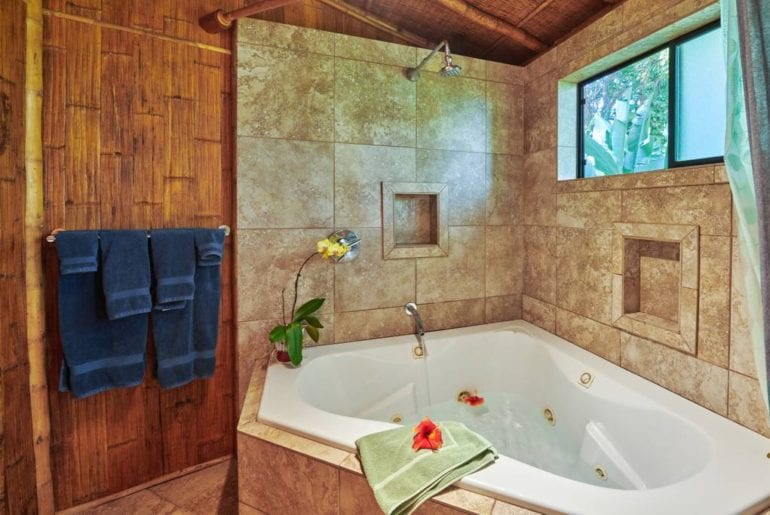 tropical bamboo airbnb cottage with pool and hottub