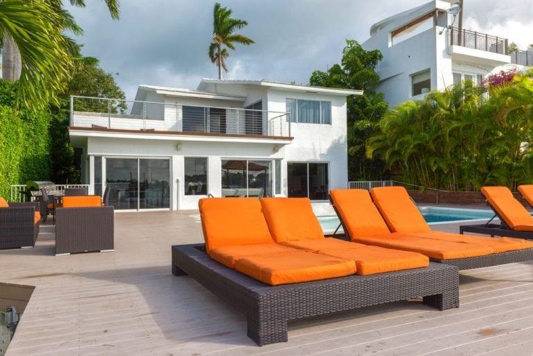 poolside view in a Miami VRBO