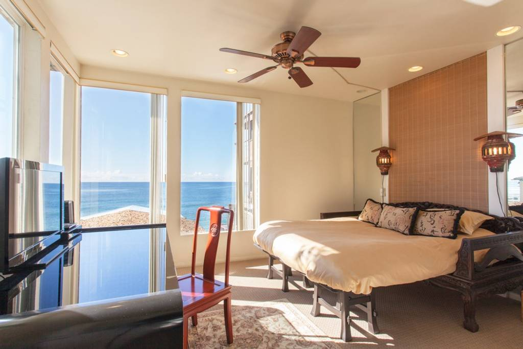 bedroom with a seaview in an LA airbnb